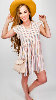 Multi Stripe Print Knit Babydoll Tunic Dress