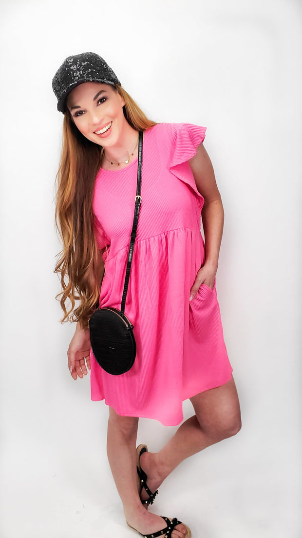 Ruffle Sleeve Baby-doll Dress with Pockets