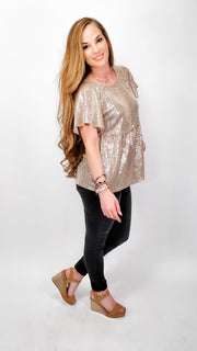 Short Sleeve Sequins Babydoll Top