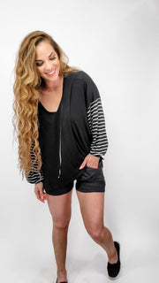 Pol - Low V-Neck Long Bell Sleeves Top with Hoodie