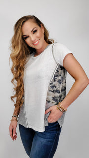 Camo Contrast Textured Top