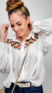 Pol - Long Sleeve Button Down Top with Detail
