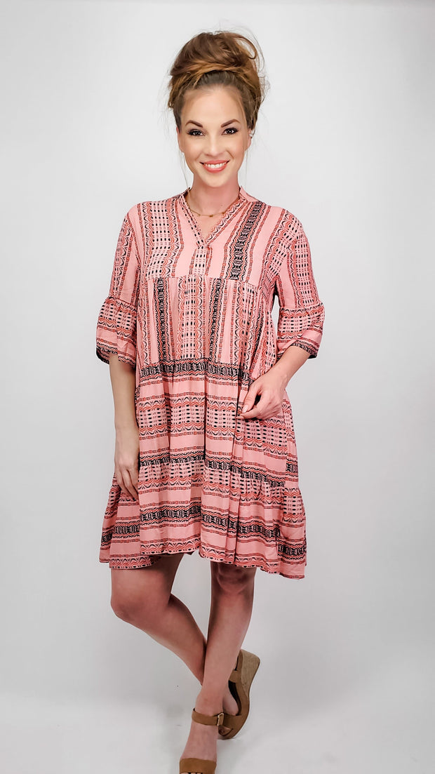Easel - Bali Half Sleeves Tunic Dress (S-3XL)