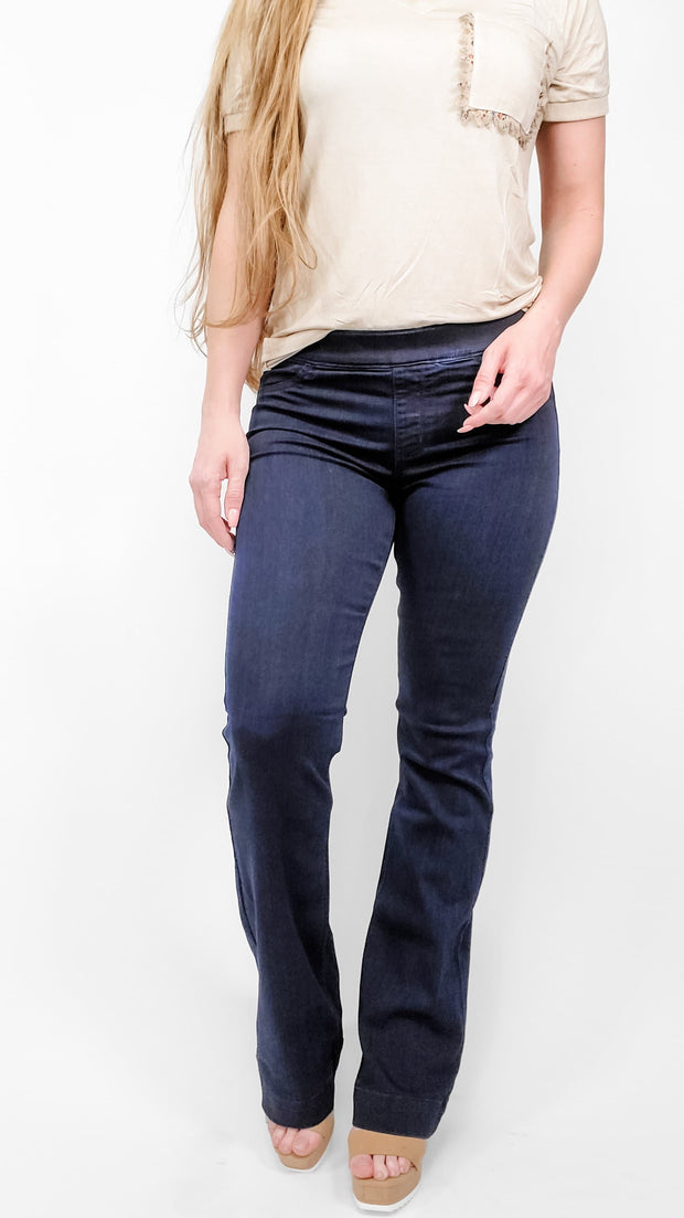 "Cello - Mid Rise Dark Wash Flare Jeggings (LONG 33"")"