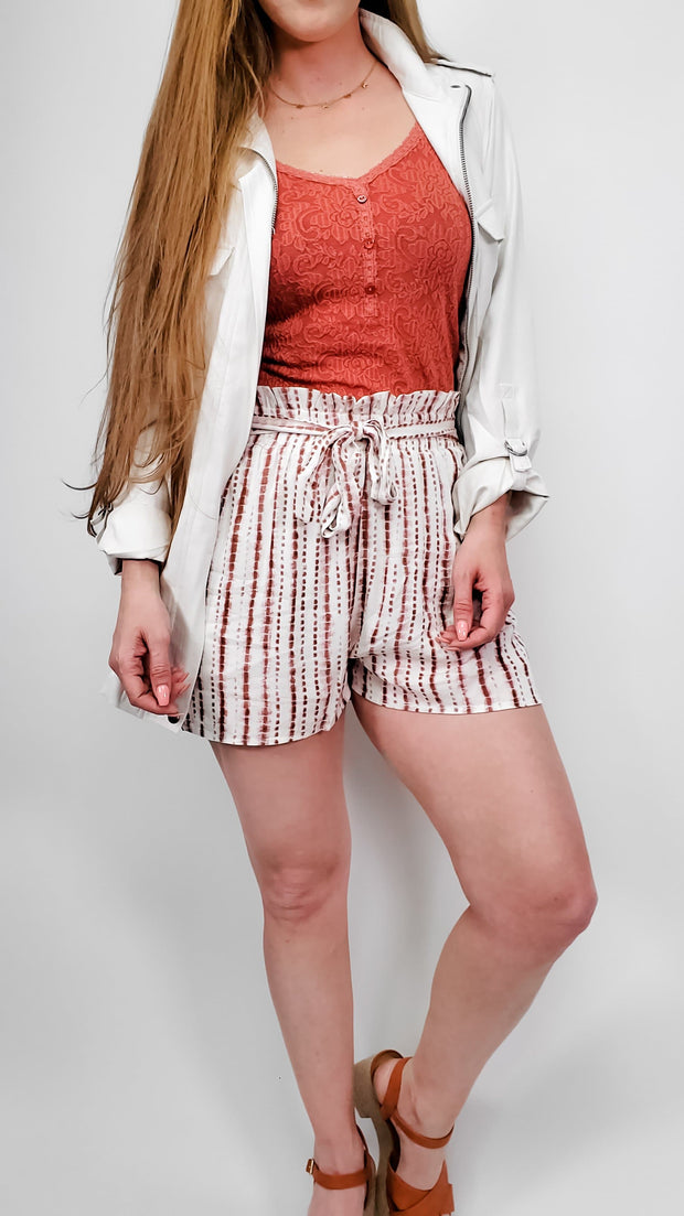 Striped Tie Dye Print Bucket Shorts with Elastic Waist