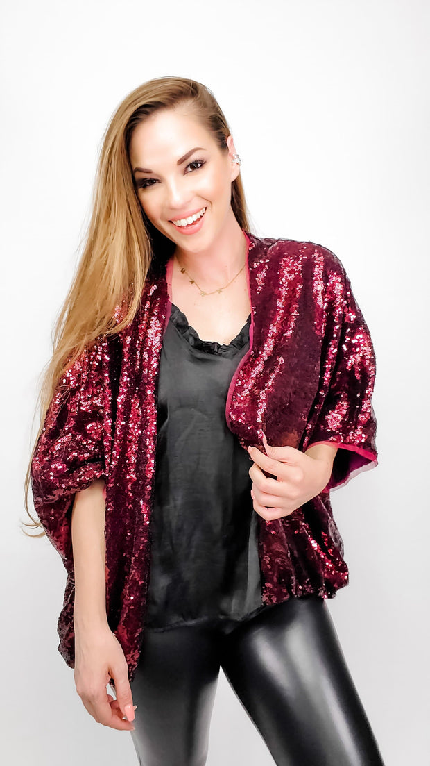 Sequins Short Open Cardigan