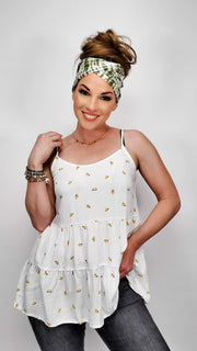 V-Neck Tiered Print Top with Adjustable Straps