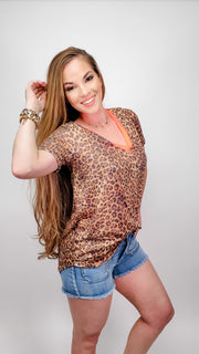 Leopard Print V-Neck Top with Neon Band