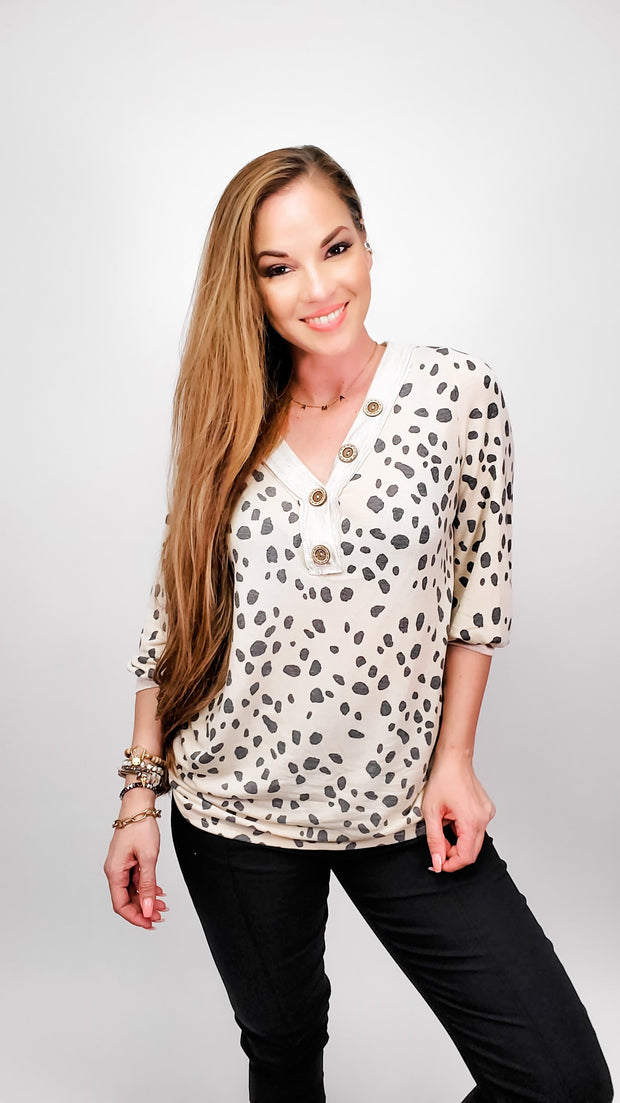 Dalmatian Print Top with Puff Sleeves and Contrast Buttoned Placket