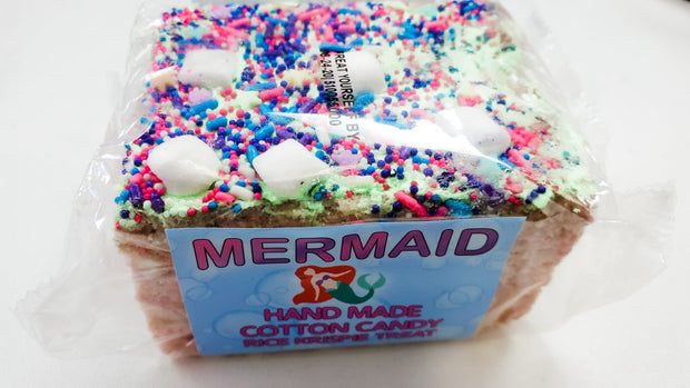 Jumbo Mermaid Cotton Candy Rice Krispie Treat