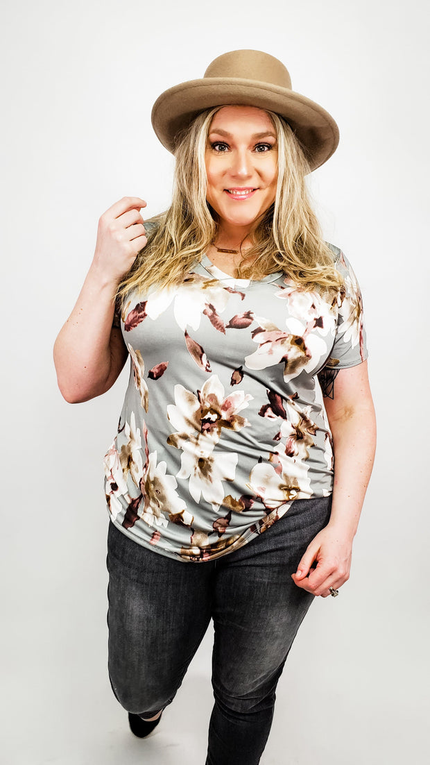 Short Sleeve V-Neck Floral Print Top (S-3XL)