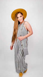 Pleated Halter Neck Jumpsuit Featuring Keyhole Back Button and Elastic Waist