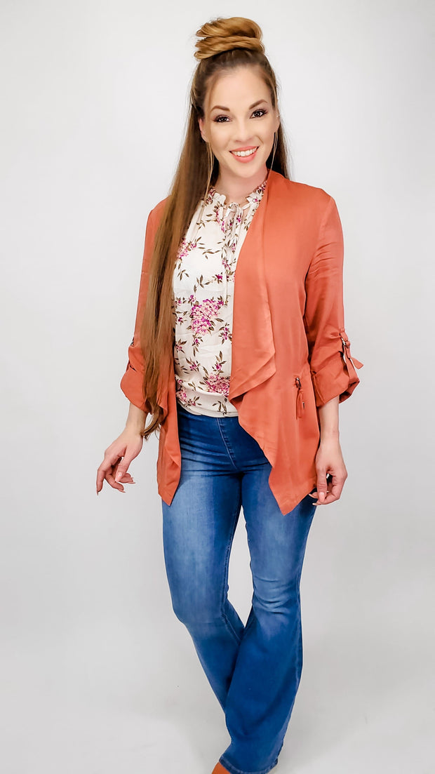 Draped Collar Twill Jacket