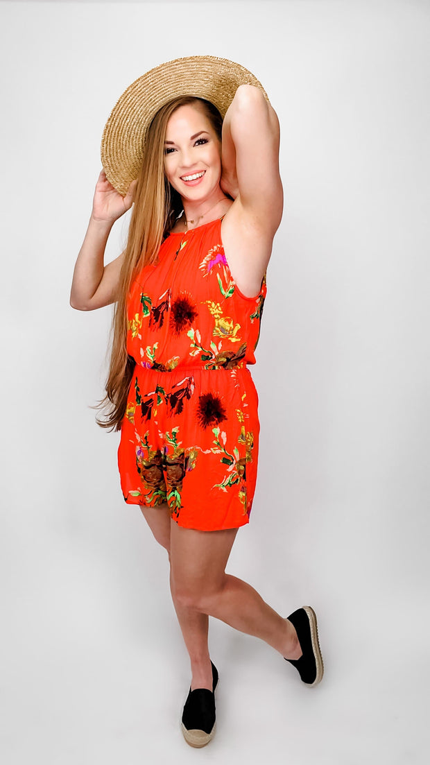 Pleated Halter Neck Floral Romper Featuring Keyhole Back Button and Elastic Waist