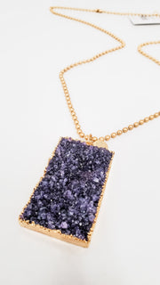 Karli Buxton - Dog Tag Genuine Druzy Stone Necklace