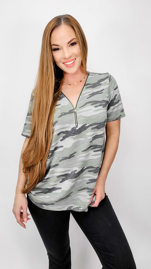 Camouflage Top with Zipper Neck Opening