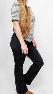 Black Mid Rise Flared Jeggins (S-3XL)