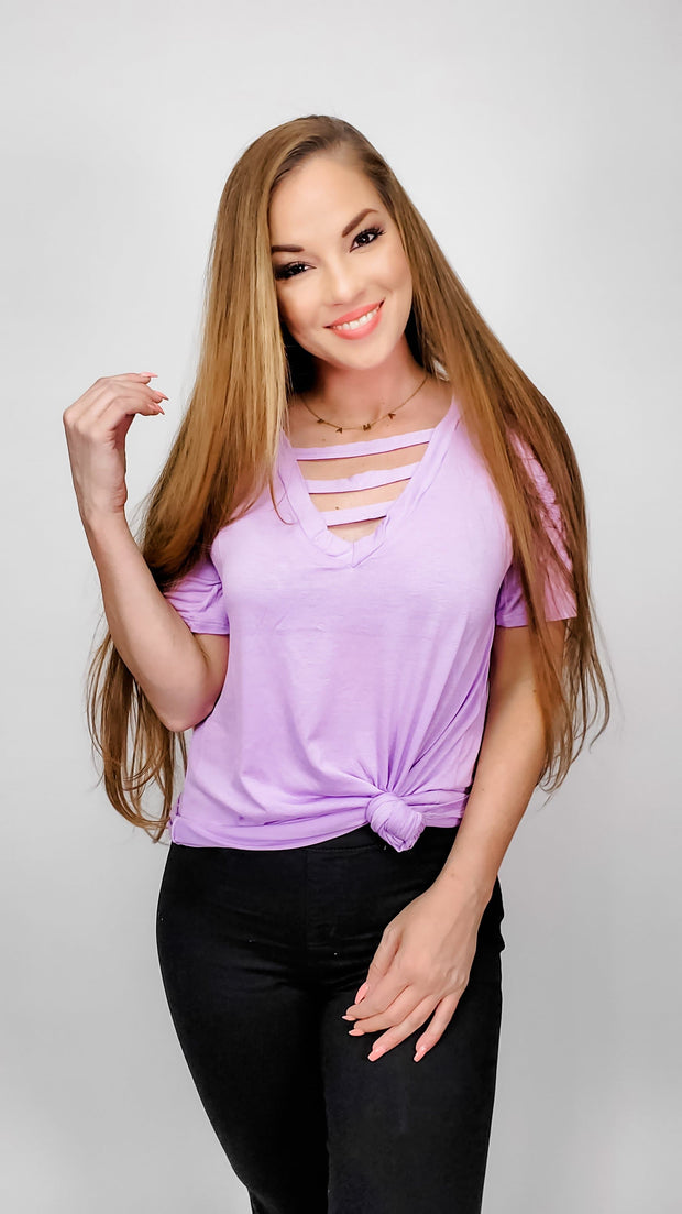 Jersey Knit V-Neck Top with Strapped Front Neck Detail