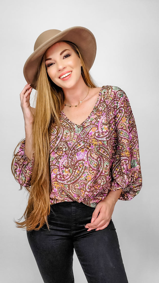Paisley Print Bubble Crepe V-Neck Top with Bubble Sleeves