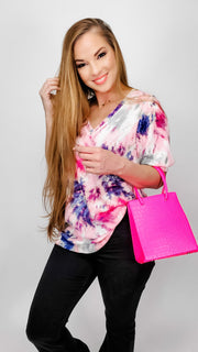 Tie-Dye Thermal Waffle V-Neck Top with Puff Sleeves