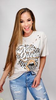 Nap Queen Distressed Graphic Top