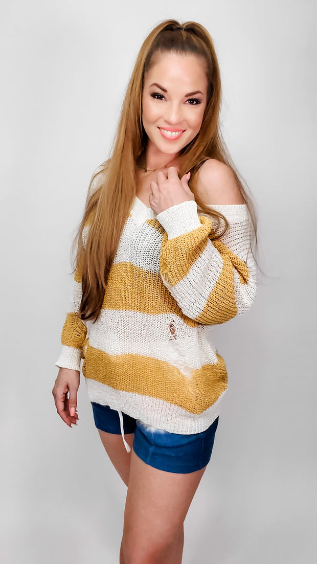 Pol - Low V-Neck Distressed Color Block Sweater