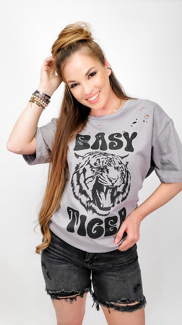 Hippie Easy Tiger Distressed Graphic Top