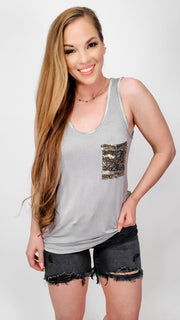 Pol - Low V-Neck Sleeveless Knit Top Featuring Sequin Pocket Detail