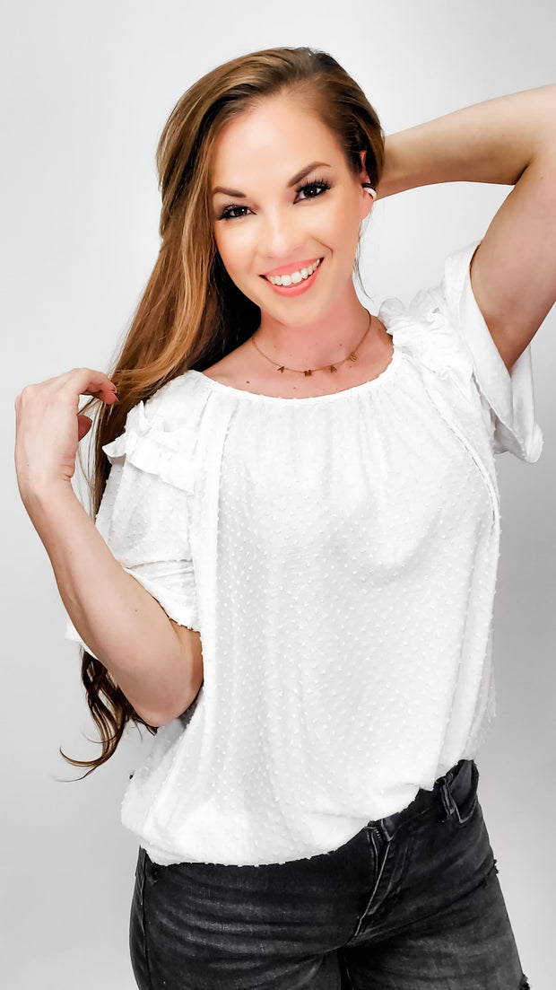 Short Sleeve Crew Neck Top with Ruffle Detail on Sleeves (S-3XL)