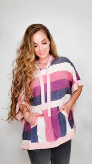 Multi Colored Oversized Hoodie Poncho with Kangaroo Pockets