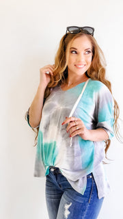 Tie Dye Short Sleeve V-Neck Hoodie Top with Drawstring