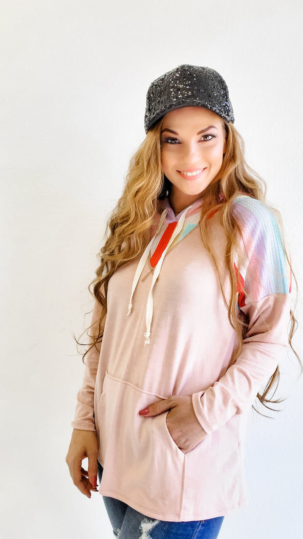 Multi Colored Striped Contrasted Hoodie, Dorito, and Shoulder with Kangaroo Pockets