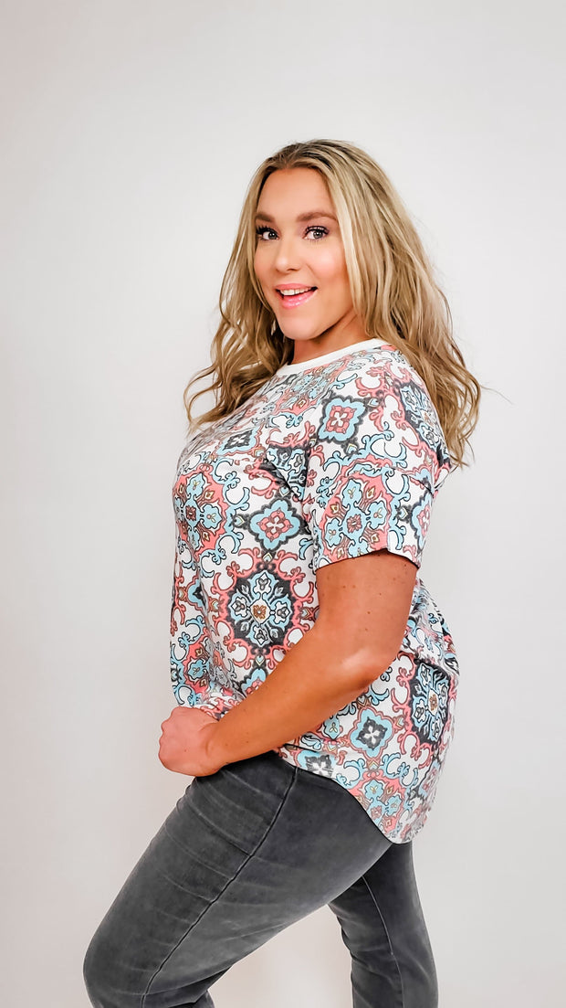Printed Scoop Neck Short Sleeves Top