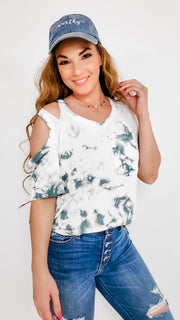 Pol - Tie Dye Short Sleeve Top with Sleeve Detail