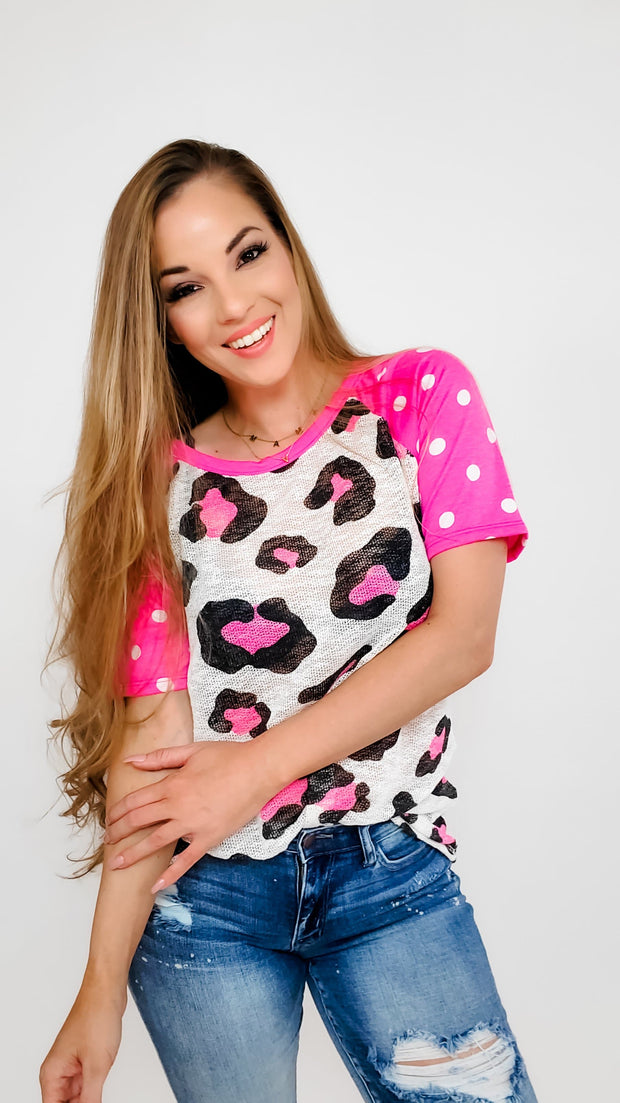 Leopard Print Low Gauge Hacci Knit Top With Raglan Dot Terry Print