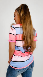 Multi Color Stripe Print Terry Ringer Top