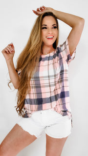 Plaid Crew Neck Top