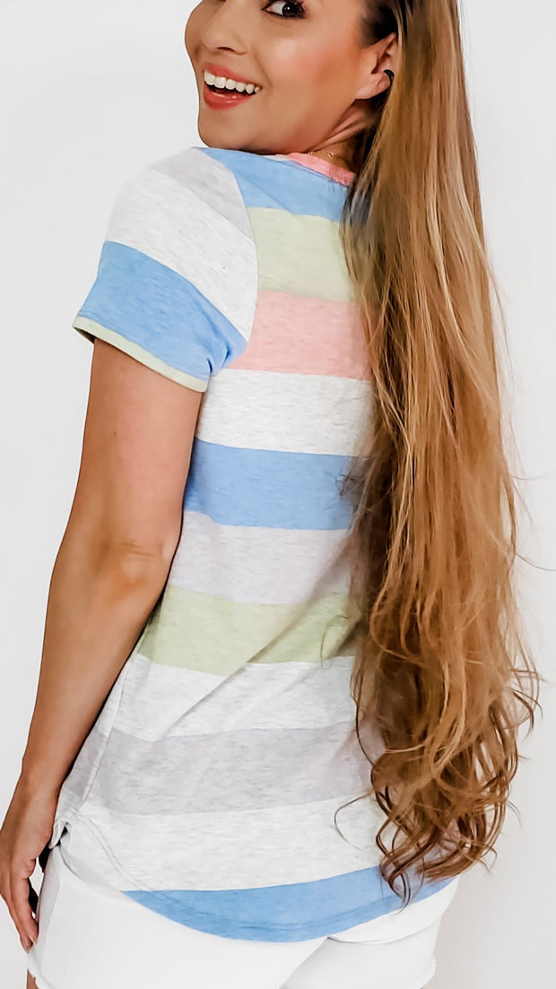 V-Neck Short Sleeve Color Block Top