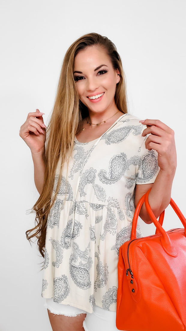 Paisley Round Neck Baby Doll Hoodie Top