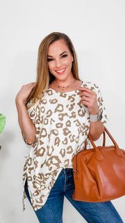 Leopard Top with High Low Detail