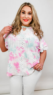Tie Dye Eyelet Casual Top with Keyhole (1XL-3XL)