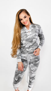 Camouflage Hoodie with Tie Detail at front - (S-3XL)