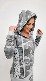 Camouflage Hoodie with Tie Detail on Sleeve - (S-3XL)