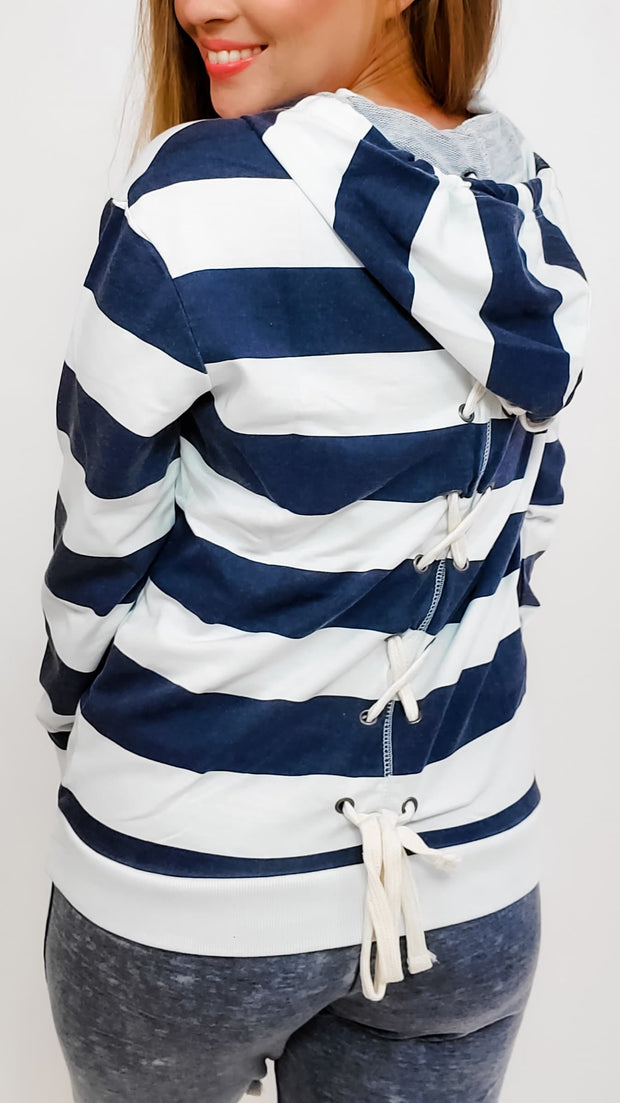 Striped Hoodie with Tie Detail on Back - (S-3XL)