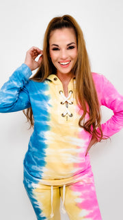 Tie Dye Hoodie with Tie Detail at Front- (S-3XL)