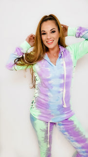 Tie Dye Hoodie with Tie Detail on Sleeve - (S-3XL)