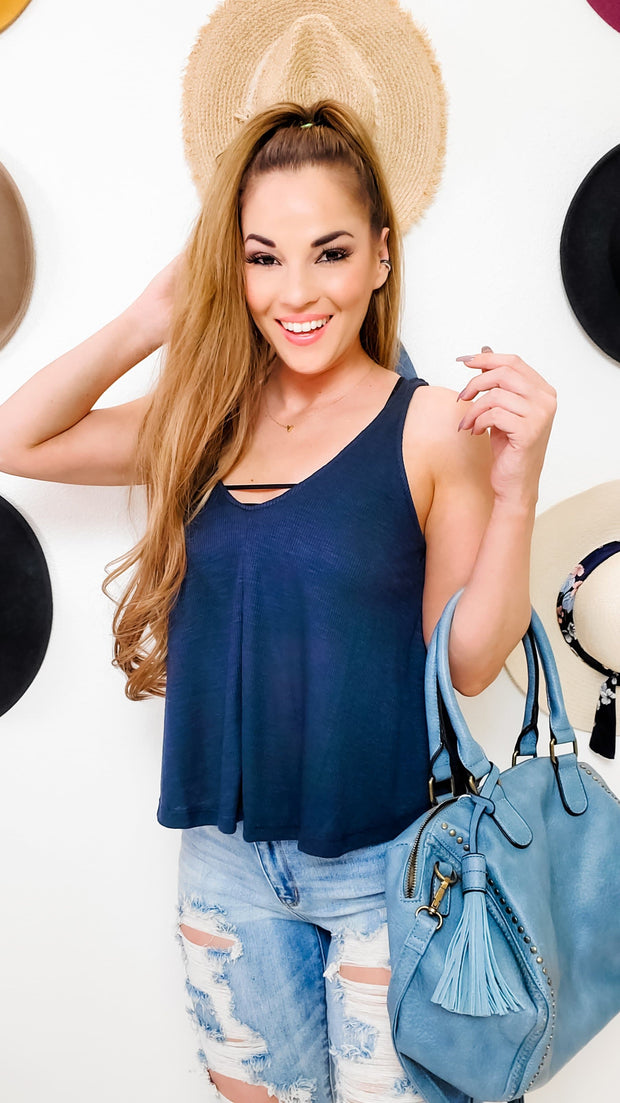 V-Neck Flared Tank Top