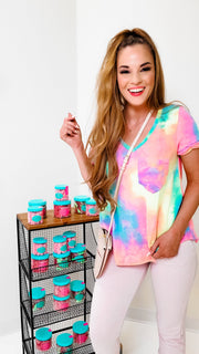 Tie-Dye Print V-Neck Top Featuring Shirred Cuff Detail at Sleeve
