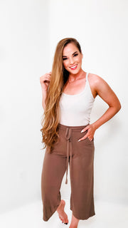 Doorbuster - Cropped Lounge Pants Drawstring Waist Side Pockets