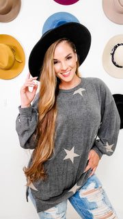 Cashmere Brushed Start Print Long Sleeve Top